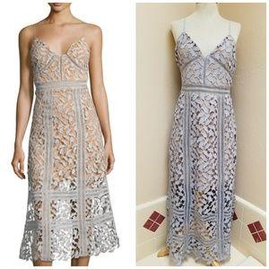 Floral-Lace Few Moda Midi Dress, Light Blue